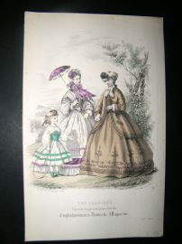 Englishwoman's Domestic Magazine 1863 Hand Col Fashion Print. July